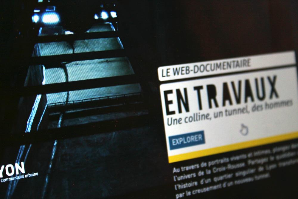 Création identité graphique, webmastering, ergonomie, suivi de developpement du webdocumentaire 'EN TRAVAUX Une colline, un tunnel, des hommes' http://www.entravaux-documentaire-interactif.org/