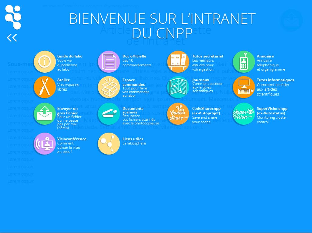 Intranet CNPP CNRS homepage